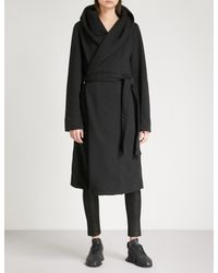 DRKSHDW by Rick Owens Black Draped Cotton-jersey Robe Coat