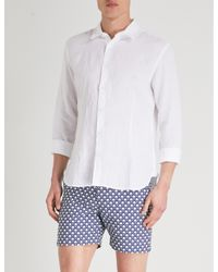 Orlebar Brown White Morton Tailored-fit Linen Shirt for men