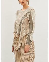 WEN PAN Natural Distressed Contrasting-panel Cotton-blend Top