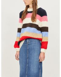 Ganni Red Oversized Striped Sweater