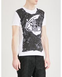 Vivienne Westwood Anglomania White Orb-print Cotton-jersey T-shirt for men
