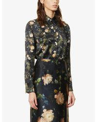 Vince Multicolor Floral-print Silk-satin Shirt