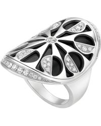 BVLGARI - Metallic Intarsio 18kt White-gold And Black-onyx Ring - Lyst