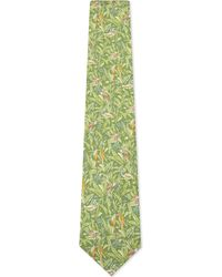 Ferragamo Green Monkey And Floral Silk Tie for men