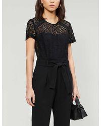 Claudie Pierlot Black Jeannee Floral-lace And Woven Jumpsuit