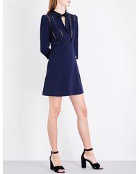 Maje Black Remala Embroidered-trim Stretch-crepe Dress