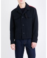 Ferragamo - Black Scribble Stitch-embroidered Cotton-blend Jacket for Men - Lyst