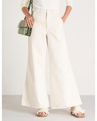 Ganni White Bluebell High-rise Wide-leg Jeans