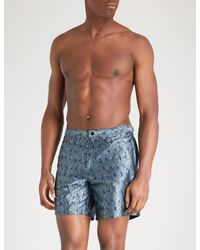 Comerciante comercio Típicamente  La Perla Cotton Aqua Pura Printed Jacquard Swim Shorts in Khaki (Blue) for  Men - Lyst