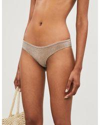 LoveStories Metallic Eve Glittered Low-rise Bikini Bottoms