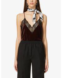 Zadig & Voltaire Black Lace-trimmed Velvet Silk-blend Cami Top