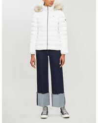 Tommy Hilfiger White Faux-fur Trimmed Shell Jacket