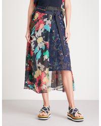 Sacai - Blue Floral-print Chiffon Midi Skirt - Lyst