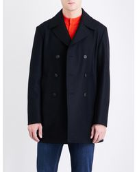 Armani Black Double-breasted Wool Peacoat for men