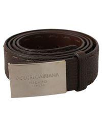 Dolce & Gabbana Brown Logo Metal Buckle Belt for men