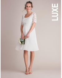 cc520334389 Lyst - Seraphine Ivory Lace Pleated Maternity   Nursing Dress in White