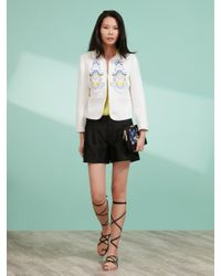 Shanghai Tang White Long Sleeve Palm Embroidery Jacket