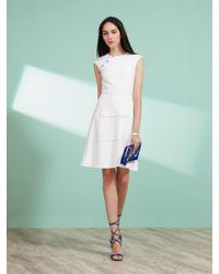 Shanghai Tang White Cap Sleeve Stitch Dress