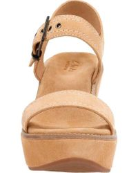 Clarks Brown Aisley Orchid Quarter Strap Wedge