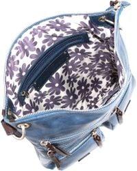 Nino Bossi Blue Violet Bouquet Leather Crossbody Bag