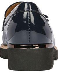 Franco Sarto Blue Carolynn Patent Tassel Lug Sole Loafers
