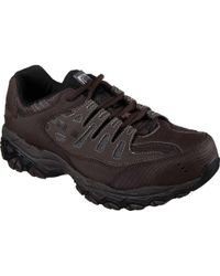Skechers Brown Work Relaxed Fit Crankton Steel Toe Shoe for men