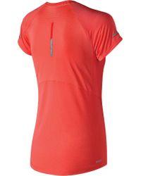 New Balance Red Wt81200 Ice 2.0 Short Sleeve Tee
