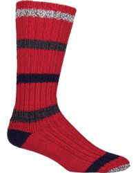 Woolrich Red Camp Full Body Striped Sock (2 Pairs) for men