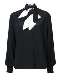 Givenchy - Black Long Sleeved Bow Blouse - Lyst