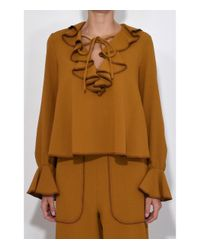 See By Chloé Metallic Gold Crepe Tie Front Top