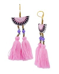 Shashi | Pink/multicolor Double Tassel Drop Earring | Lyst
