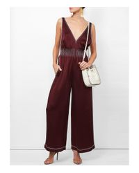 Valentino - Red Contrast Stitched Jumpsuit - Lyst