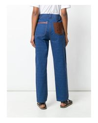 J.W. Anderson Blue Grid Printed Denim Trouser