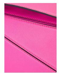 Loewe - Pink Mini Puzzle Leather Cross-Body Bag - Lyst