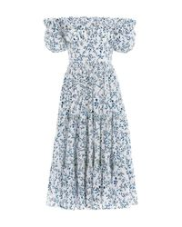Agua by Agua Bendita Blue Banana Off Shoulder Midi Dress