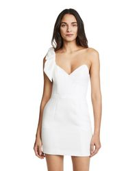 Fleur du Mal White One Shoulder Tie Short Dress