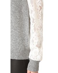 Rebecca Taylor Gray Lace Sleeve Pullover