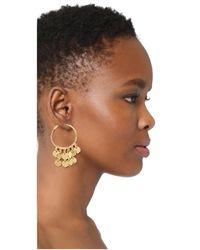 Kenneth Jay Lane - Metallic Coins Hoop Earrings - Lyst