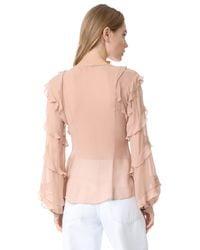 Nicholas - Pink Silk Georgette High Neck Ruffle Blouse - Lyst