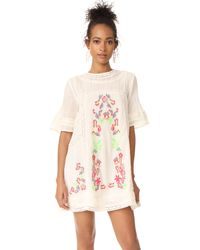 Free People | White Perfectly Victorian Embroidered Mini Dress | Lyst
