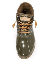 Sperry Top-Sider - Green Saltwater Shiny Quilted Booties - Lyst