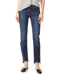 J Brand Blue Amelia Straight Step Fray Jeans