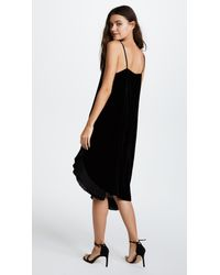 CLU Black Pleat Trimmed Velvet Dress