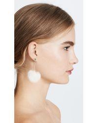 Kate Spade - White Pouf Earrings - Lyst