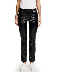 Helmut Lang - Black Patent Cropped Flare Pants - Lyst
