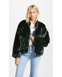 Free People - Green Furry Bomber Jacket - Lyst