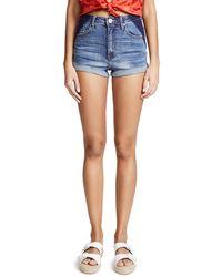 One Teaspoon Blue High Waist Harlets Shorts