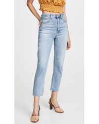Agolde Blue Double Pocket Riley High Rise Cropped Jeans