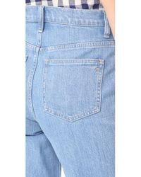 Madewell Blue Wide Leg Crop Jeans With Tux Stripe