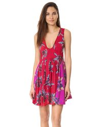 Free People Red Thought I Was Dreamin Mini Dress